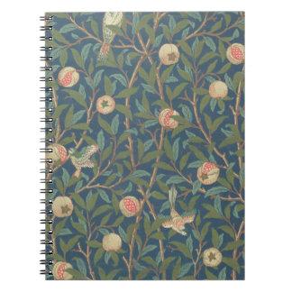 'Bird and Pomegranate' Wallpaper Design, printed b Notebook