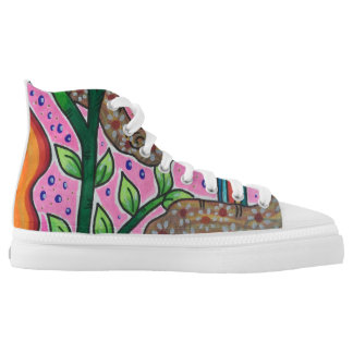 Bird and roses printed shoes
