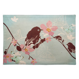 Bird and sakura flowers American MoJo Placemat