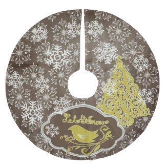 Bird and Snowflakes on Brown Holiday Tree Skirt