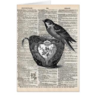 Bird and tea cup card