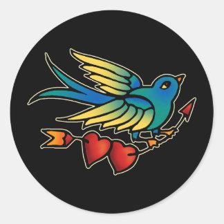 Bird Arrow and Hearts Classic Round Sticker