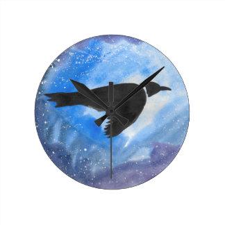 Bird At Night Round Clock