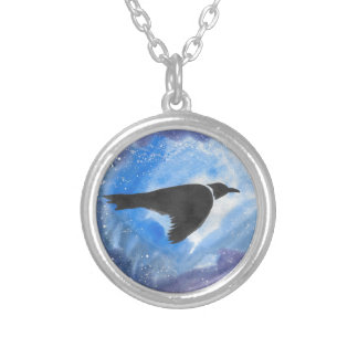 Bird At Night Silver Plated Necklace