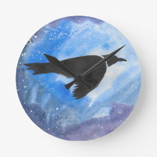 Bird At Night Wall Clocks