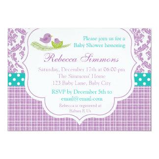 Bird Baby Shower Invitation Neutral Damask Purple