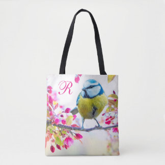 Bird & Blooms Monogram Tote Bag