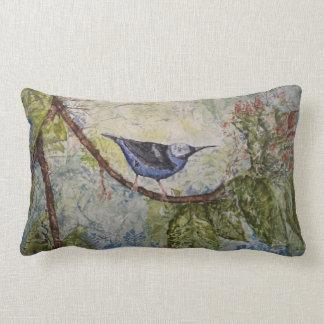 Bird Blue Watercolor Art Lumbar Pillow