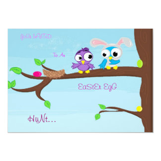 Bird-Bunny easter egg hunt Card