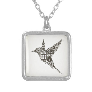 Bird business silver plated necklace