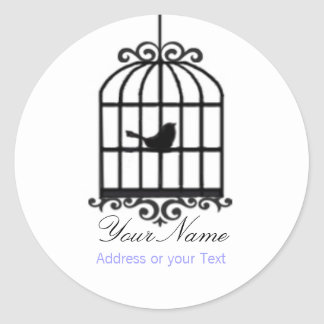 Bird Cage Address Sticker