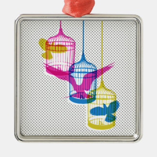 Bird Cage Escape Metal Ornament