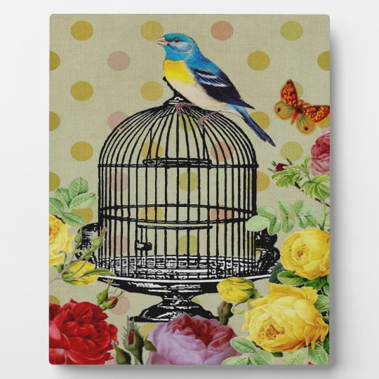 Bird Cage Floral Leaf Butterfly Plaque with Easel