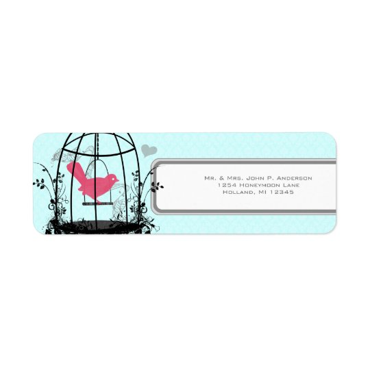 Bird Cage Pink Bird Musical Notes and Heart Return Address Label