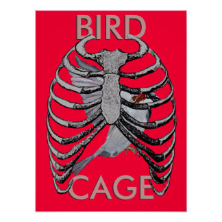 Bird Cage Poster Art Red with Logo