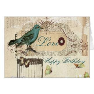 Bird cage Vintage floral  Paris fashion Greeting Card