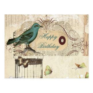 Bird cage Vintage floral Paris fashion Post Cards