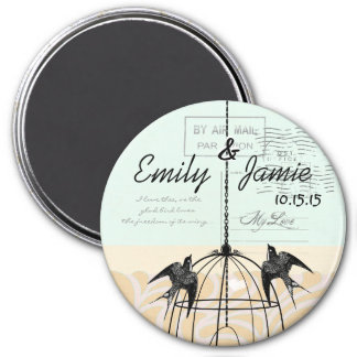 Bird Cage Wedding Magnets Postcard Background
