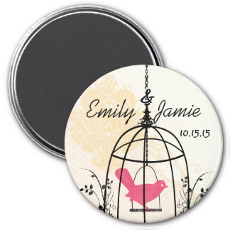 Bird Cage Wedding Stickers or Customize 7.5 Cm Round Magnet