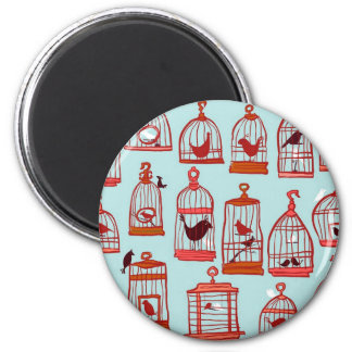 Bird Cages on Blue Magnet