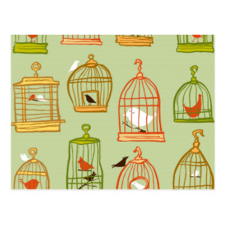 Bird Cages on Green Postcard