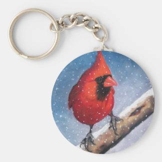 BIRD: CARDINAL: SNOW: OIL PASTEL ART KEY RING