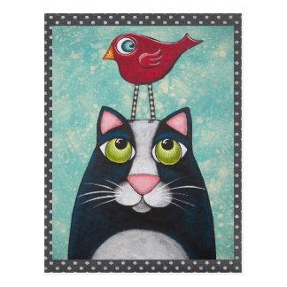 Bird & Cat Art Postcard