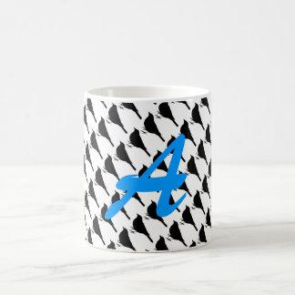 Bird coffee mug initial A