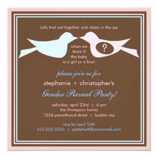 Bird Couple Baby Gender Reveal Party Card