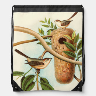 Bird Couple on a Nest Perched on a Branch Drawstring Bag