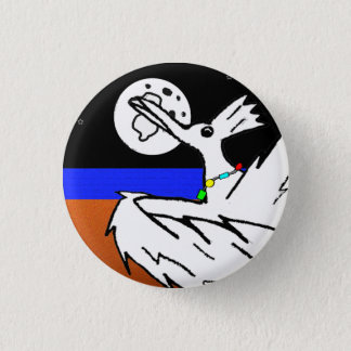 Bird dancing under moon 3 cm round badge