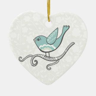 Bird Double-Sided Heart Ceramic Christmas Ornament