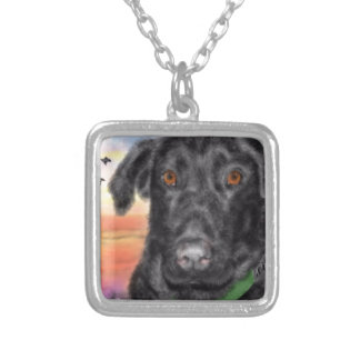 Bird dog silver plated necklace