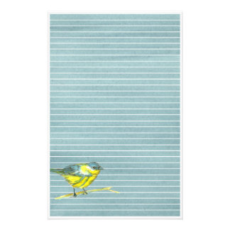Bird Drawing Grey Lined Stationery