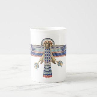 Bird Egyptian Symbol Horus Omega Blue Gold Ancient Bone China Mug