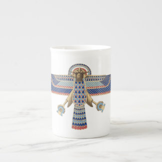 Bird Egyptian Symbol Horus Omega Blue Gold Ancient Tea Cup