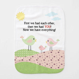 Bird family Burp Cloth