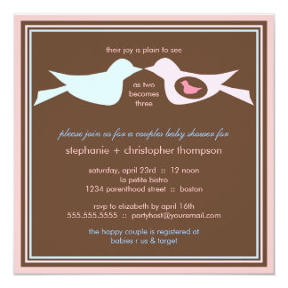 Bird Family Couples Baby Shower 13 Cm X 13 Cm Square Invitation Card