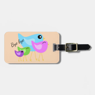 Bird family pale peach luggage tag