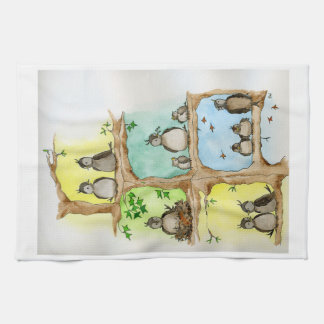 Bird family through the Year Tea Towel