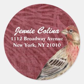 Bird & Floral Address Label Round Sticker