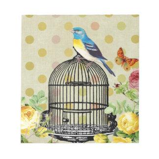 bird Floral, Art, Design, Beautiful, New, Fashion Notepad
