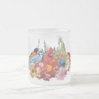 bird / flower medley 4 frosted glass coffee mug
