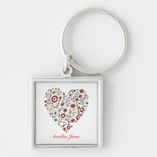 Bird Flowers Love Heart Customised Keychain