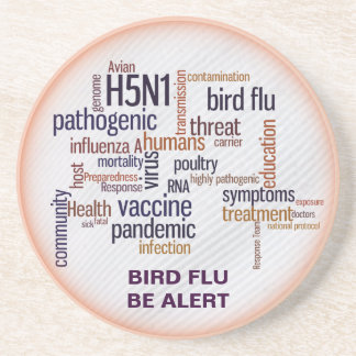 Bird Flu Feather Word Cloud Drinks Coaster