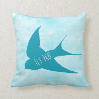 Bird Fly Free Bly Sky Clouds Quote Throw Pillow
