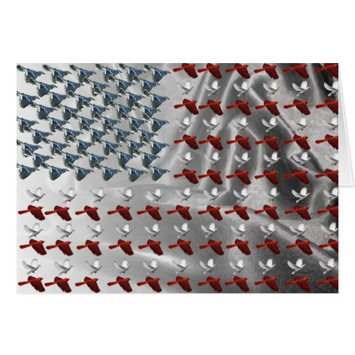 Bird Flying American Flag Cards