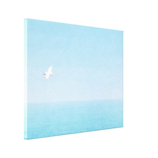 Bird Flying over Ocean in Hawaii Canvas Print