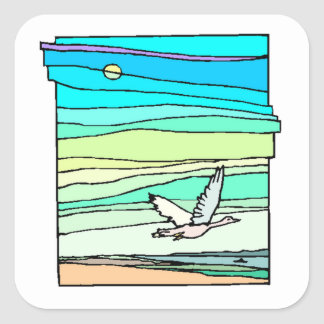 Bird Flying Square Stickers