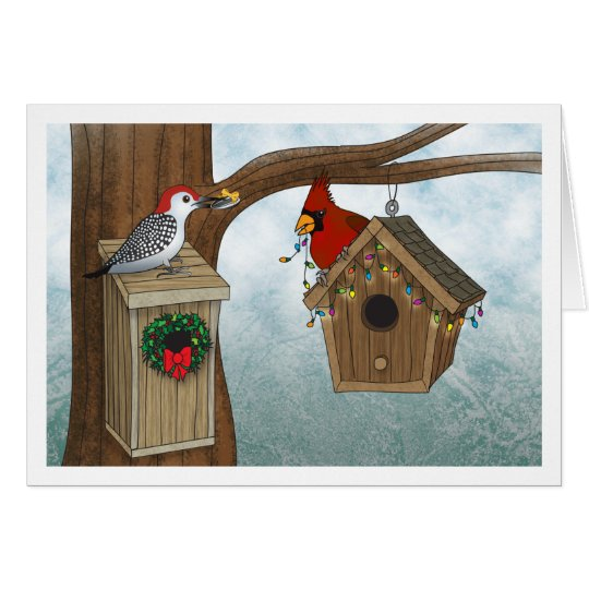 Bird House Christmas Card
